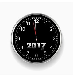 2017 nearly midnight black and silver clock vector