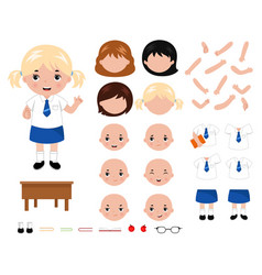 adorable little school girl character constructor vector image