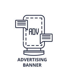 advertising banner line icon concept advertising vector image