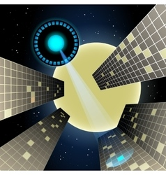 Allien flying object over the night city vector image