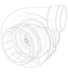 Automotive turbocharger line sketch isolated on vector