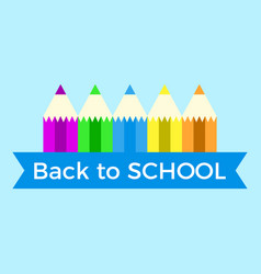 back to school colorful pencil with ribbon and vector image