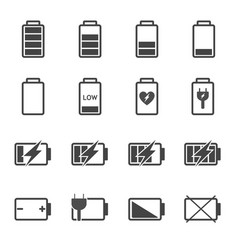 battery icon set power and fuel concept vector image