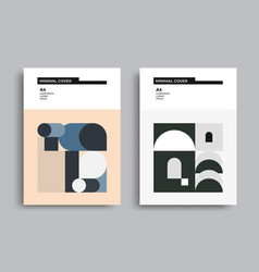 Bauhaus modern posters with geometric shapes vector