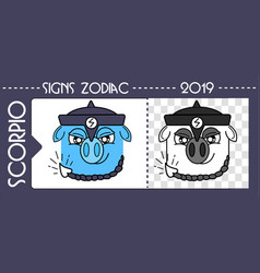 black scorpio zodiac pig vector image