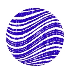 Blue circle with wavy stripes grunge vector