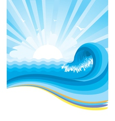 Blue wave in ocean horizon vector image