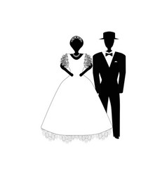 Bride and groom black white silhouette vector