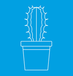 Cactaceae cactus in a pot icon outline style vector
