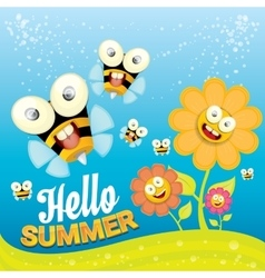 cartoon summer landscape with Honey bees vector image vector image
