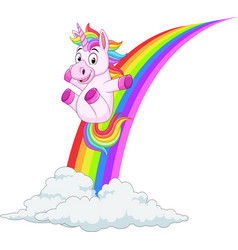 Cartoon unicorn sliding on a rainbow vector