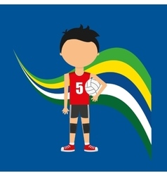 Cartoon voleyball player brazilian label vector