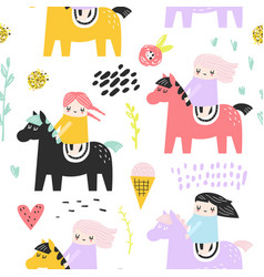 Childish seamless pattern with cute girls and pony vector