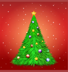 christmas tree with decoration ball and star vector image