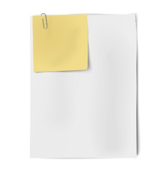 Clipped sheets of sticky note and A4 white paper vector image