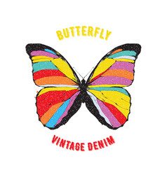 colored butterfly emblem vector image