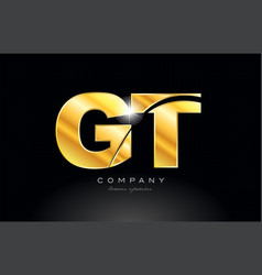 Combination letter gt g t gold golden alphabet vector