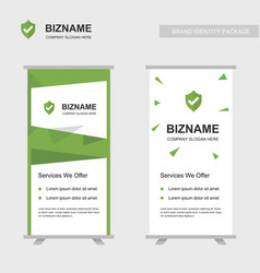 company ads banner unique design with shield logo vector image