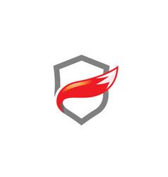 creative abstract fox tail shield protection logo vector image