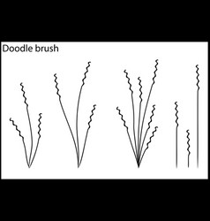 Doodle brush the grass and bushes vector