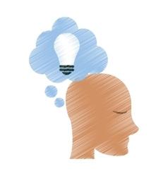 Drawing profile head idea cloud vector