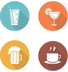 Drinks flat design icons set vector image