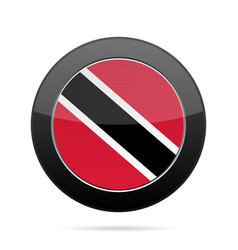 flag of trinidad and tobago black round button vector image