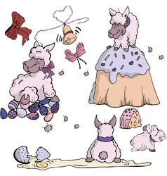 Gentle easter set with sheep vector