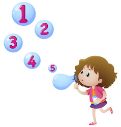girl blowing bubbles with numbers vector image