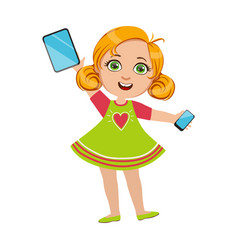Girl holding tablet and smartphone part kids vector
