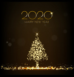 Golden christmas tree glittering light shining on vector