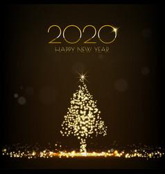 Golden christmas tree glittering light shining vector