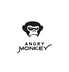 grumpy angry gorilla king kong monkey face logo vector image