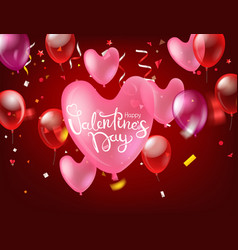 happy valentines day greeting card with confetti vector image