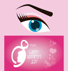 Happy womens day eight march eye girl vector
