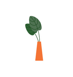 indoor house plant with leaves in vase icon flat vector image
