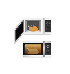 isolated microwave oven with chicken vector image