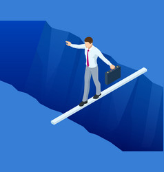 Isometric businessman tightrope walker is on the vector