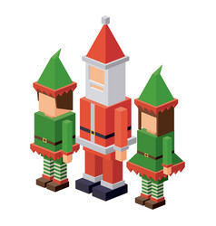 Isometric elf and santa design vector