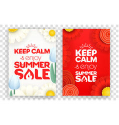 keep calm and enjoy summer sale red and white vector image