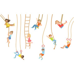 Kids on swings and other rope sports equipment vector
