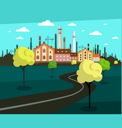 landscape with factory on background and empty vector image
