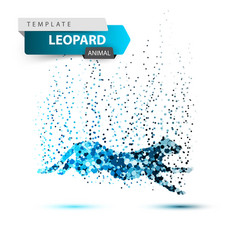 leopard in jump - dot vector image