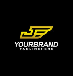 letter j with wings golden color logo design vector image