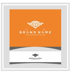 Letter t shield wing logo design concept vector
