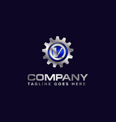 letter v gear template logo this design is vector image