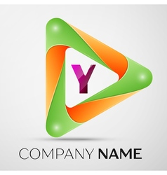Letter Y logo symbol in the colorful triangle on vector