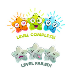 Level complete and level failed screens game over vector