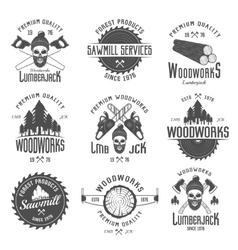 Lumberjack Black White Emblems vector