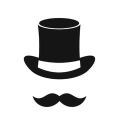 Magic black hat and mustache icon simple style vector